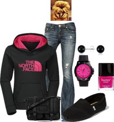 North Face - I actually like this outfit. Good for a casual cold winter day . Komplette Outfits, Casual Outfits, Fashion Outfits, Womens Fashion, Polyvore Outfits, Latest Fashion, Skirt Outfits, Fasion, Fashion News