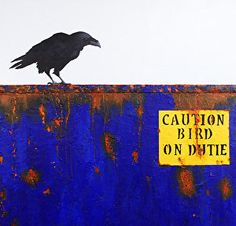 """DUMPSTER DIVING XII: SECURITY GUARD- Raven Painting by Cristina Del Sol Mixed Media: Acrylics, dry pigments, marble dust ~ 18"""" x 18"""""""