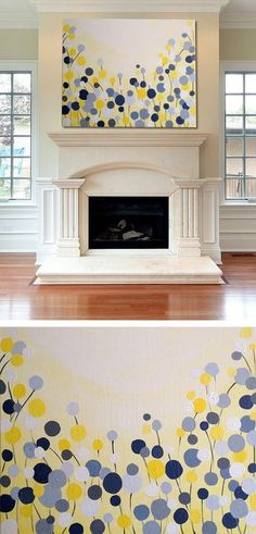 Wall Art: Simple Canvas Painting #DIY | katrinasbaguettes.tumblr.com.       Love painting, colors yellow, gray and white and the beautiful fireplace surround.