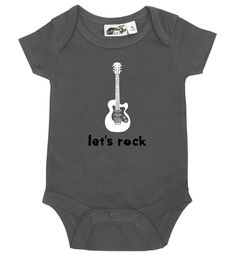 Let's Rock Guitar Charcoal One Piece Baby Turtles, Turtle Baby, Black And White One Piece, Punk Baby, One Piece Bodysuit, Baby Kids Clothes, Cotton Shorts, Future Baby, Simple Dresses