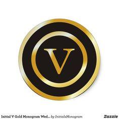 Initial V Gold #weddinginvitations m #Wedding Classic Round #stickers