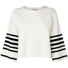 L.K. Bennett Langley Stripe Sleeve Top (1.140.190 IDR) ❤ liked on Polyvore featuring tops, patterned tops, white striped top, stripe top, sleeve top and white flared sleeve top
