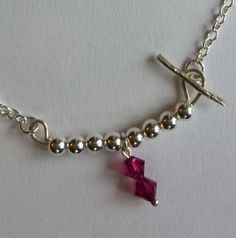 Ruby red Swarovski crystal silver necklace by AlisonYoungJewellery, £25.00