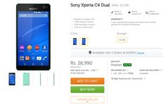 Sony Xperia C4 Dual Price in India on Flipkart,Amazon,Snapdeal | Ubuntuish