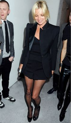 Kate Moss always rocks a sleek black jacket—and looks fabulous. // #Style