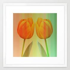 Head-to-Head, mixed media art with elegant Tulips Framed Art Print