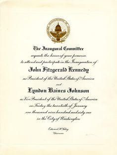 Invitation to the Inauguration of President John F. Kennedy and Vice President Lyndon B. Johnson on January 20, 1961