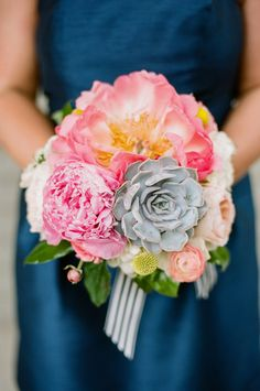 Perfect for any preppy garden wedding! We love this spring bouquet by The Enchanted Florist! Click the image to see more by the Enchanted Florist!  Photography by Jenna Henderson.