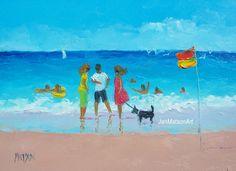 Beach painting 5x7 painting beach decor beach oil by JanMatsonArt,