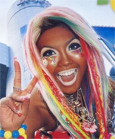 Ganguro is a fashion trend in Japan where teenage girls try to emulate the tan bimbos of America......awesome