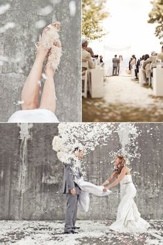 Love the creative wedding photos! A pillow fight, who would have thought?