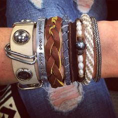 Do you even Arm Party bro? Time to step your game up! I love being able to wear multiple pieces at once each one a little different with a different story. Pictured here @stixandstonesclt leather and pearl wrap bracelet @eqvforever copper and #denim bangle @lilyandlaura and @summerbirdboutique consignment finds! #CBandPumps #ArmParty #FallFashion #CLTblogger #FashionBlogger #Wednesday #JOTD #wiwt #whatiwore #betrendly #accesories #jewelry #style #StyleBlogger #ShopCLT #ShopSmall #Leather…