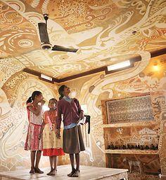 Brilliant Indo-Japanese Wall Art  by volunteers in a village school in Bihar, India