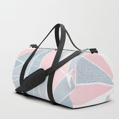 Fresh pastel geometry in blue/grey and pink on Dubble Bag by Dominique Vari . I . #abstract #geometry #pastels #beautiful #cool #bags #dufflebag #sportbag #Dominiquevari #Society6    I . Society6Hand drawn and spontaneous geometric prism pattern, refined with pastel pink and blue/grey colours and textures for a unique pretty and stylish look