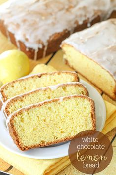 White Chocolate Lemon Bread recipe - a quick and easy bread filled with lemon, white chocolate pudding and topped with a delicious glaze. Glazed Lemon Zucchini Bread Recipe, Lemon Bread, Banana Bread Recipes, Zucchini Loaf, Lemon Loaf, Cake Recipes, Dessert Recipes, Chocolate Lasagna, Chocolate Pudding