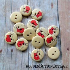 10 Christmas Santa Hat 15mm 2-hole Wooden by WoodenButtonCottage