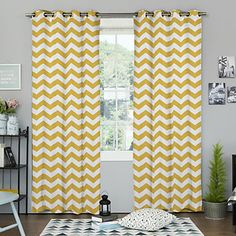 Modern Minimalist Yellow Chevron Curtain (Two Panels) – USD $ 59.99