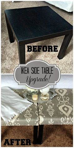 Ikea LACK side table turned into an easy DIY upholstered stool!  I have 2 of these just sitting around. Should totally do this