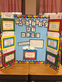What a great idea for conferences~! This teacher makes a board of some handouts perfect for practicing at home, because so many times the parents want to help but aren't sure how (or don't have the materials). Brilliant!
