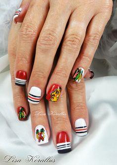 #Stanelycup #chicago #chicagoblackhawks #blackhawks #gelnails #nailart #sportsnails #naildesign #nails #lisakorallus #liquidglamour #nailpictures Hockey Nails, Football Nails, Love Nails, Fun Nails, Sports Nail Art, Super Cute Nails, Nail Pictures, Cool Nail Art, Manicure And Pedicure