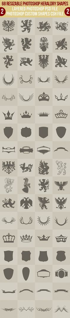 Buy 68 Photoshop Heraldry Shapes 2 by vilord on GraphicRiver. 68 resizable heraldry shapes in layered photoshop *.psd file and custom shapes csh file. Animals, monsters, crowns, r. Web Design, Logo Design, Graphic Design, Photoshop Shapes, Etiquette Vintage, Bussiness Card, Family Crest, Crests, Art Plastique