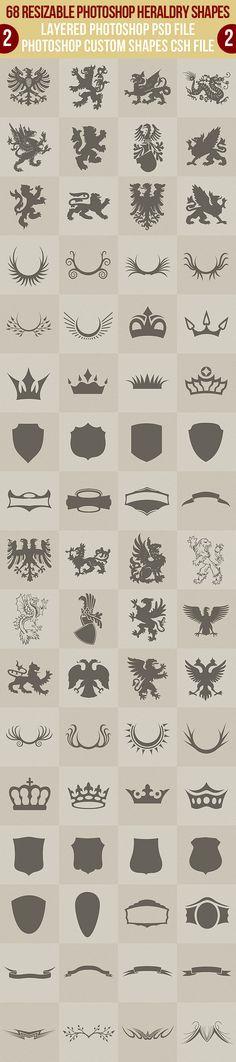 68 Photoshop Heraldry Shapes 2 - Symbols Shapes