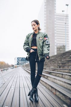 15 Ways to Wear a Light Flight Jacket. Alex, shot in Paris for Alex's Closet, via Lookbook