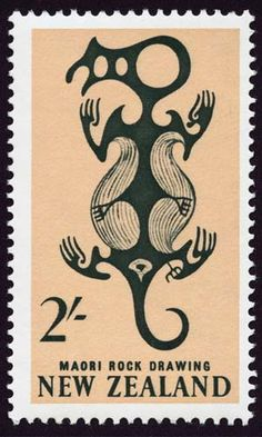 Stamp: Maori Art: Rock Drawing in Taniwha (New Zealand) (Pictorial Definitives) Mi:NZ 796 Vanuatu, Commonwealth, Maori Legends, Maori Words, Cave Drawings, Maori Designs, New Zealand Art, Nz Art, Postage Stamp Art
