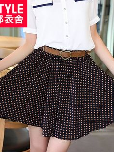bouncy polka dots chiffon skirt $44 #asianicandy #spring #asianfashion #koreanfashion #japanese #kawaii