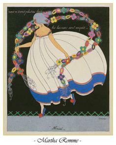 Floreal - Les douze mois de l'année aquarelle (watercolor) by Martha Romme, 1919.