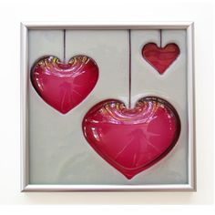 Pink Hearts Hand Carved Fused Glass Art Tile. $130.00, via Etsy.