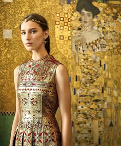 Valentino Haute Couture collection with Gustav Klimt's 'Adele Bloch-Bauer I,' photographed in Neue Galerie in New York. Photo by Jason Schmidt.