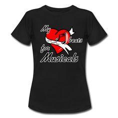 My heart beats for Musicals - Traumhaft schöne Shirts und Geschenke für alle Musicalfans. #herz #liebe #musical #musicals #show #theater #tanz #gesang #schauspiel #sänger #tänzer #schauspieler #fan #fans #musicalfan #shirts #geschenke