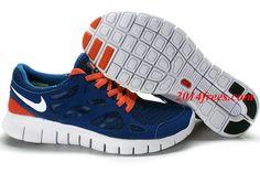 Mens #Nike #Free Run 2 Blue White Orange Shoes - Click Image to Close