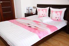 Dětské přehozy na postel bílo růžové barvy s pejskem