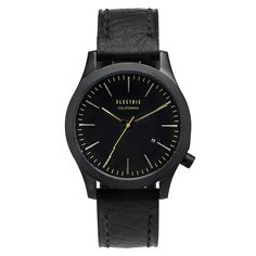 Electric - FW03 Leather All Black/Brass Watch