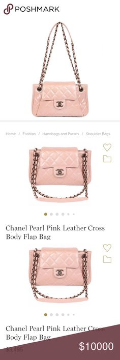 7bfcd4018a90 😍Chanel Pearl Pink Leather Cross Body Flap Bag Beautiful light pink pearl  leather Chanel.