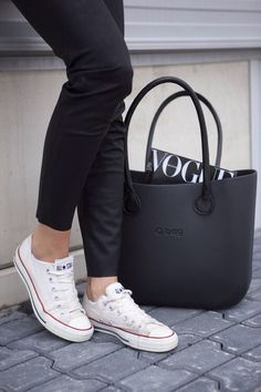 White convers with black O bag