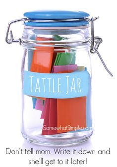 Tattle Jar Parenting idea. This idea will save you a lot of frustration this summer. It's so much harder to whine and tattle when you have to write it down! Great idea for the kids.
