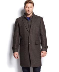MICHAEL Michael Kors Brown Herringbone Overcoat - Coats & Jackets - Men - Macy's