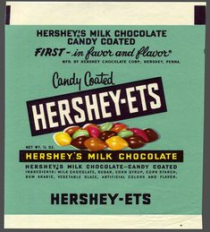 Hershey's - Hershey-ets - candy package proof - - Courtesy Dan Goodsell A favorite of mine as a kid. Retro Advertising, Vintage Advertisements, Vintage Ads, Vintage Stuff, Vintage Images, Candy Packaging, Food Packaging, 1950s Candy, Glazed Vegetables