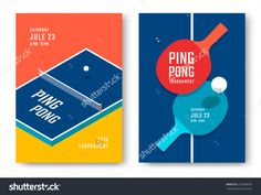 Ping-Pong Posters Design. Table And Rackets For Ping-Pong. Vector Illustration…