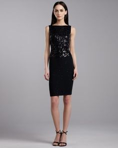St. John - Shop Online - Dresses - Sequin Knit Sleeveless Dress, Caviar