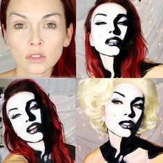 31 Thrilling Transformations Realized with the Power of Makeup - My Modern Met Pop Art Makeup, Crazy Makeup, Lip Art, Art Halloween, Halloween Face Makeup, Maquillage Marilyn Monroe, Marylin Monroe, Comic Makeup, Kandee Johnson