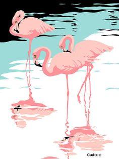 Pink Flamingos tropical 1980s pop art nouveau graphic art retro stylized florida scene print