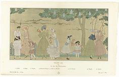 Anonymous | Gazette du Bon Ton, Été 1915, No. 8-9, Pl. 3: Vichy (II) / ou / Le Jeu des Marionnettes, Anonymous, Callot Soeurs, Jenny, 1915 | Zes vrouwen en vier kinderen, die met verschillende marionetpoppen spelen. Zij dragen ontwerpen van Callot, Jenny, Paquin, Martial et Armand, Doeuillet en Lanvin. Planche 3 uit Gazette du Bon Ton 1915, No. 8-9.