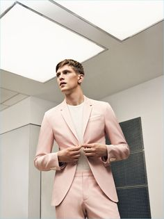 Pale pink is front and center as Mathias Lauridsen dons a new suit from Zara Man.