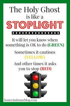 "Holy Ghost Lesson Handout Printable A handout printable for church lessons - ""The Holy Ghost is like a Stoplight\"""