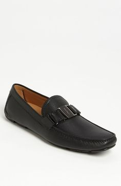 $620, Black Leather Driving Shoes: Salvatore Ferragamo Sardegna Driving Shoe. Sold by Nordstrom. Click for more info: http://lookastic.com/men/shop_items/43811/redirect