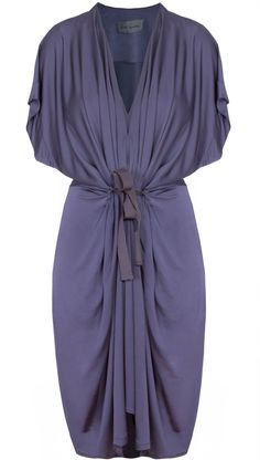 Violet draped capsleeve dress with grosgrain ribbon 2413e8562a70